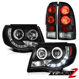 For 05 11 Toyota Tacoma Black Led Drl Strip Halo Headlights Brake Tail Lights