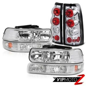 1999 2002 Chevrolet Silverado 1500 2500 Hd Chrome Headlight Bumper Tail Lamp Set
