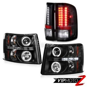 07 14 Silverado 1500 2500hd 3500hd Dual Halo Projector Headlights Led Tail Lamps
