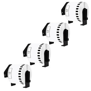 4 Roll Of Dk2205 100 Continuous White Labels Compatible For Brother Ql 570 62mm