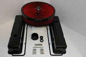 Sbc Black Engine Dress Up Kit Tall Valve Covers Red Flow Washable Air Cleaner