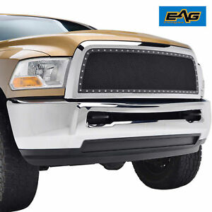 2010 2012 Dodge Ram 2500 3500 Grille Front Hood Replacement Mesh W Chrome Shell