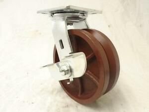 6 X 2 Swivel Caster 7 8 V groove W Brake Ductile Steel Wheel 1500 Lbs