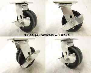 5 X 2 Swivel Caster W Brake V groove 7 8 Iron Steel Wheel 900lbs Each 4