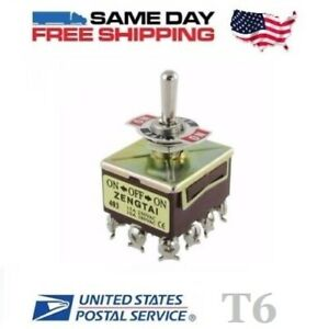 Qpdt Quad 4 Pole Double Throw 4pdt 12 pin on off on 15a Toggle Switch