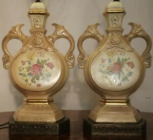 Pair Of Antique Victorian Hand Painted Gold Inlaid Vase Urn Lamps Table Lamps