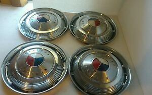 Set Of 4 Ford Mercury Hubcaps Hub Caps Red White Blue Vintage Antique 14