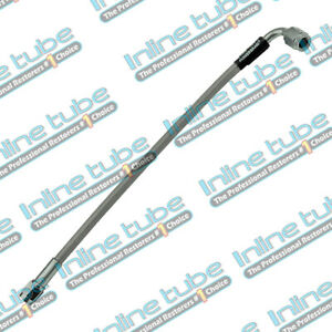 Stainless Steel Braided Brake Hose Line 3an Straight W 90 10 Long Clear Coated