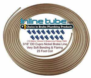 Copper Nickel Brake Line Tubing Kit 3 16 Od 25 Foot Coil Roll Metric Fittings