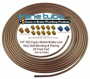 Copper Nickel Brake Line Tubing Kit 1 4 Od 25 Foot Coil Roll All Size Fittings