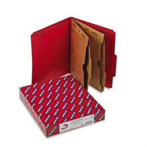 Pressboard Folders Two Pocket Dividers Letter Six section Bright Red 10 box