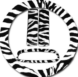Zebra Steering Wheel Cover 2 Seat Belt Covers Rearview Mirror Cover