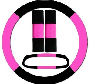 Hot Pink Black Steering Wheel Cover 2 Seat Belt Covers Rearview Mirror Cover