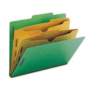 Pressboard Folders With Two Pocket Dividers Letter Six section Green 10 box