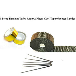 Titanium Pipe Wrap Exhaust Turbo Heat Manifold Header 1 X25 Roll With Gold Tape