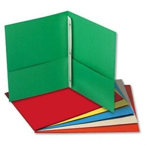 Two pocket Portfolios W tang Fasteners 11 X 8 1 2 Assorted 25 box 2 Pack