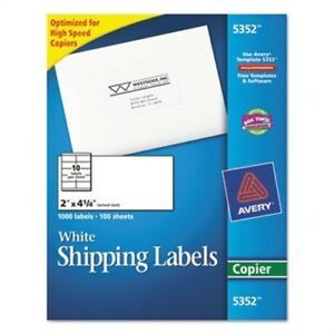 Self adhesive Shipping Labels For Copiers 2 X 4 1 4 White 1000 box 2 Pack