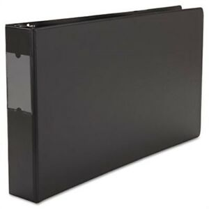 Wide Base Round Ring Binder With Label Holder 2 Capacity 11 X 17 Black X2
