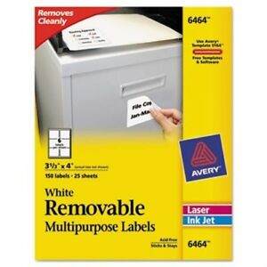 Removable Inkjet laser Id Labels 3 1 3 X 4 White 150 pack X 2