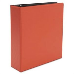 Suede Finish Vinyl Round Ring Binder 3 Capacity Red 2 Pack