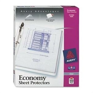 Top load Poly Three hole Sheet Protectors Economy Gauge Letter 100 box 2 Pack