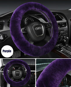 Purple Car Steering Wheel Cover Woollen Auto Plush Warmth Wool Universal Covers