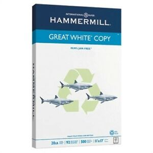Great White Recycled Copy Paper 92 Brightness 20lb 11 X 17 500 Sheets ream
