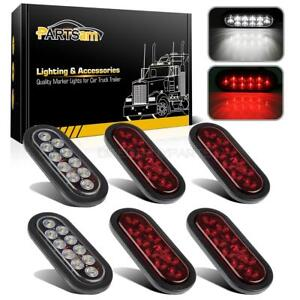 6pc Red white 10 Led 6 Oval Stop Turn Backup Tail Light W flush Mount Universal