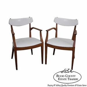 Drexel Suncoast Kipp Stewart Pair Of Solid Wood White Leather Arm Chairs B