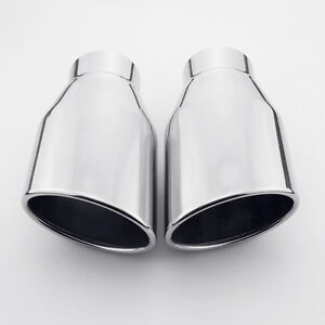 Pair 2 25 Inlet 7 Length 304 Stainless Steel Oval Slanted Rolled Exhaust Tips