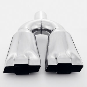 Dual 4 6 Out 2 25 Inlet Chevrolet Chevy Bowtie 304 Stainless Steel Exhaust Tip