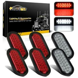 4xred 2xwhite 6 24led Oval Stop Turn Tail Backup Lamp Truck Trailer Flush Mount