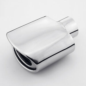 2 25 Inlet 7 Length 304 Stainless Steel Resonated Exhaust Tip Rolled Edge