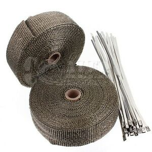 2 Titanium Exhaust Header Heat Wrap 2 X 50 Roll With Stainless Steel Ties New