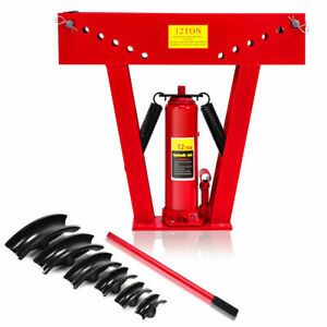 12 Ton Heavy Duty Hydraulic Pipe Bender Tubing Exhaust Tube Bending W 6 Dies
