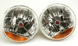 Pair 7 Tri Bar Headlight Red Dot W Amber Turn H4 Halogen Hot Rod Street Rod