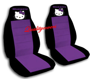 Hello Kitty Car Seat Covers Velour Front Set In Black Purple Or Choose Color