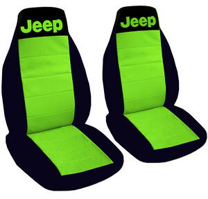 Jeep Wrangler Seat Covers Lime Green Black With Jeep Canvas Front Set