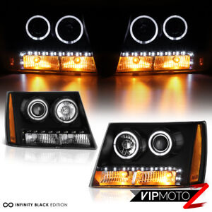 For 07 14 Chevy Tahoe Suburban 1500 2500 Halo Led Drl Projector Headlight Black