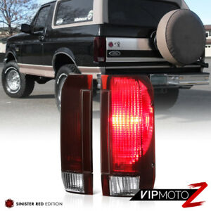 89 96 Ford F150 F250 F350 92 96 Bronco dark Smoke Red Rear Brake Tail Light