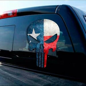 Punisher Texas Flag Decal Lone Star State Cowboy Window Sticker For Ford Chevy