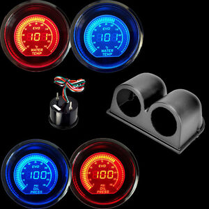 Hs Blue red Digital Led Evo Water Temperature Gauge oil Press Gauge Black