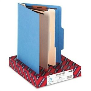 Top Tab Classification Folders Two Dividers Six sections Blue 10 box 2 Pack