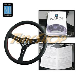 Italy Nardi Classic Type A 360mm Steering Wheel Black Perforated Leather Red S