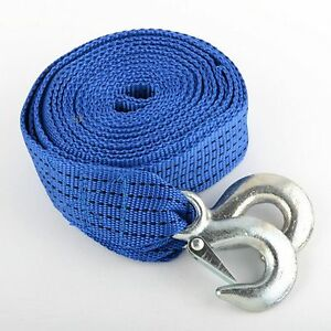 Blue 2 X 20 Polyester Tow Strap Rope 6500 Ibs Strength Heavy Duty With Hook