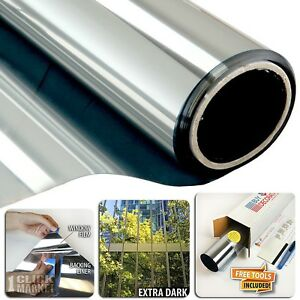 One Way Mirror Window Film Solar Reflection Tint Layer 36in X 12ft Silver 5