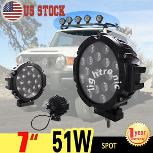 1x 7 51w Round Led Work Light Spot Off Road Fog Driving Roof Bar Bumper Suv 4x4