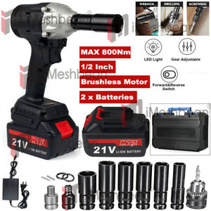 Cordless Electric Impact Wrench Gun 1 2 Driver Drill W 3a Battery 800 Nm 20v