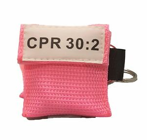 100 Pink Cpr Mask With Keychain Face Shield With Gloves