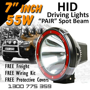 Hid Xenon Driving Lights Pair 7 Inch 55w Spot Beam 4x4 4wd Off Road 12v 24v